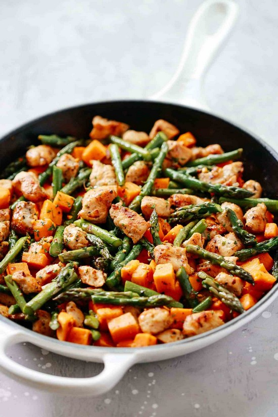 Asparagus Sweet Potato Chicken Skillet Recipe