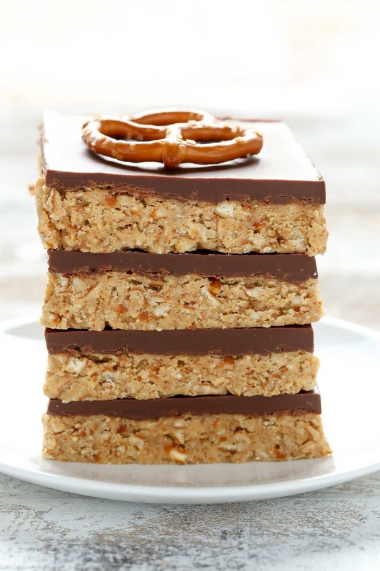 No-bake Peanut Butter Pretzel Bars Recipe