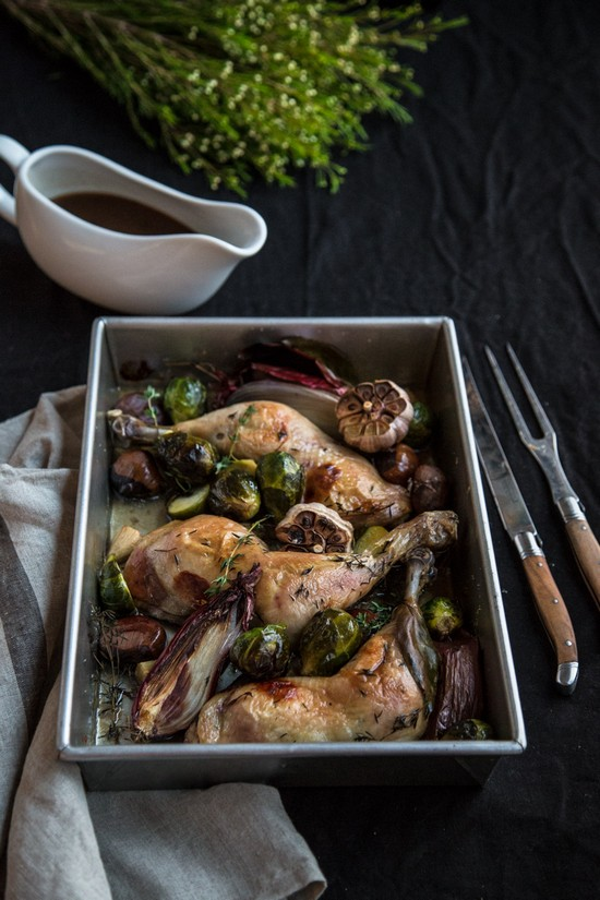 Roast Garlic Chicken With Chestnuts Recipe