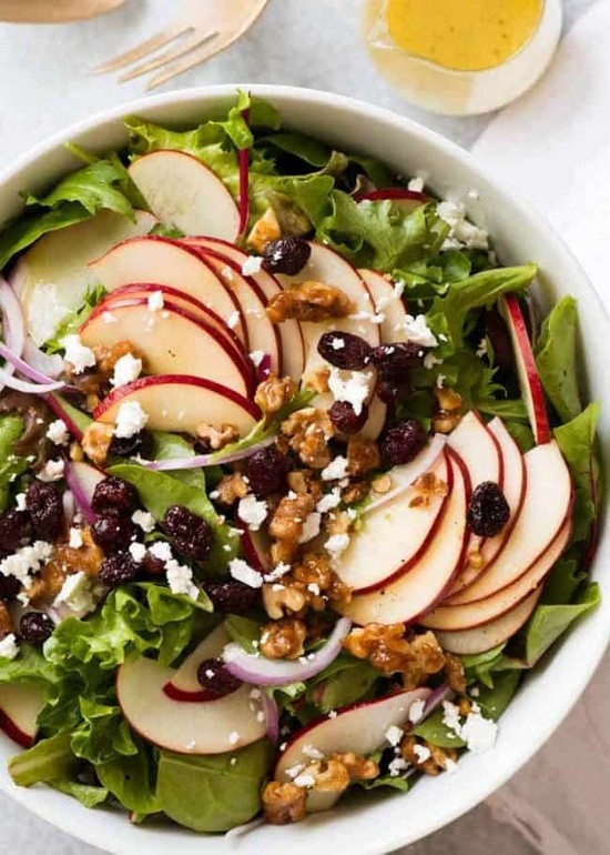 Apple Salad With Candied Walnuts And Cranberries Recipe