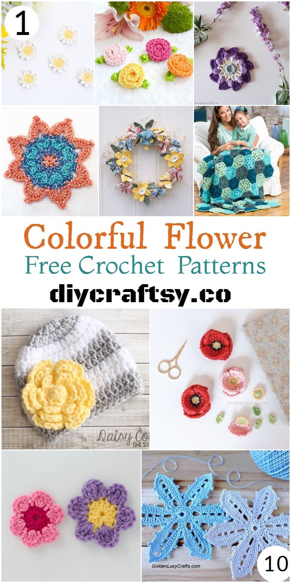 Colorful Free Crochet Flower Patterns With Images