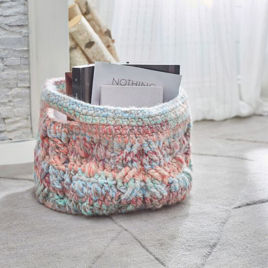 Free Crochet Cabled Basket Pattern