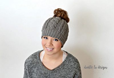 Free Crochet Cabled Messy Bun Hat Pattern