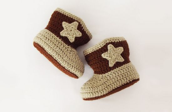 Free Crochet Cowboy Baby Booties Pattern