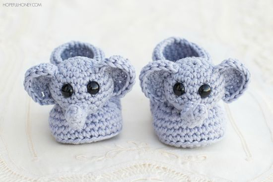 Free Crochet Ellie The Elephant Booties Pattern