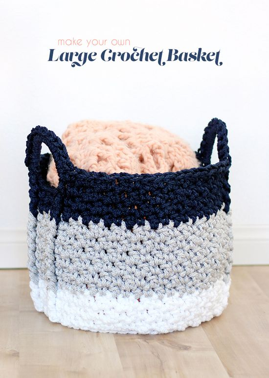 Free Crochet Large Basket With Handles Pattern