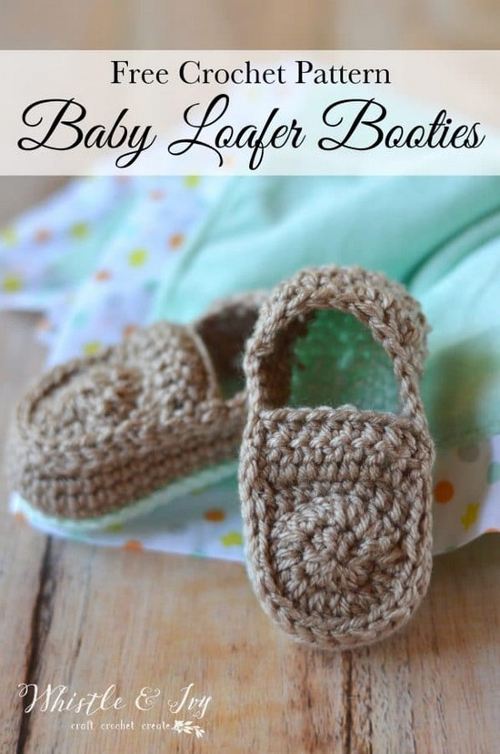 Free Crochet Loafers Baby Booties Pattern