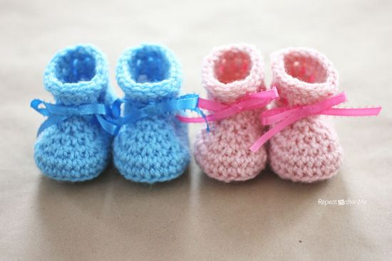 Free Crochet Newborn Baby Booties Pattern