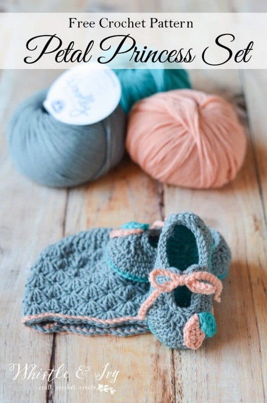 Free Crochet Petal Princess Baby Booties Pattern