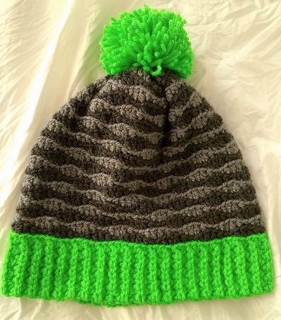 Free Crochet Pop Of Color Waves Slouchy Hat Pattern