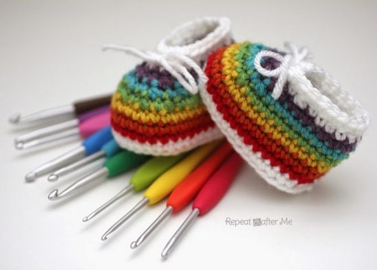 Free Crochet Rainbow Baby Booties Pattern