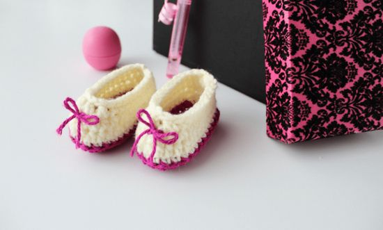 Free Crochet Sweetheart Baby Booties Pattern
