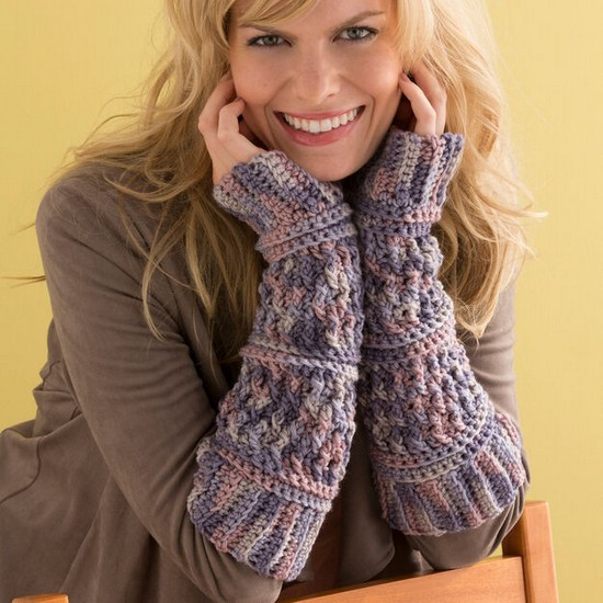 Free Crochet Textured Arm Warmers Pattern