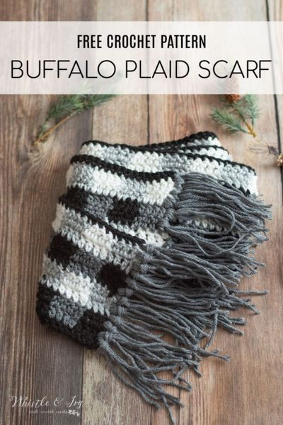 Free Crochet Buffalo Plaid Scarf Pattern