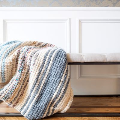 Simple Striped Tunisian Easy Crochet Blanket