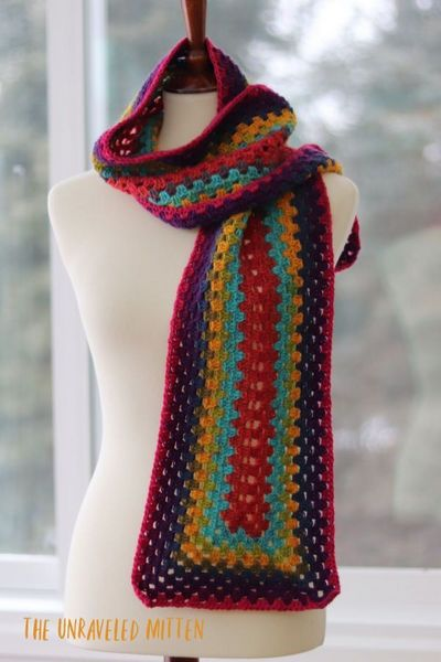 Free Crochet Granny Rectangle Scarf Pattern