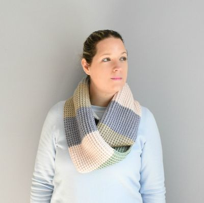 Free Crochet Tunisian Colorblock Scarf Pattern