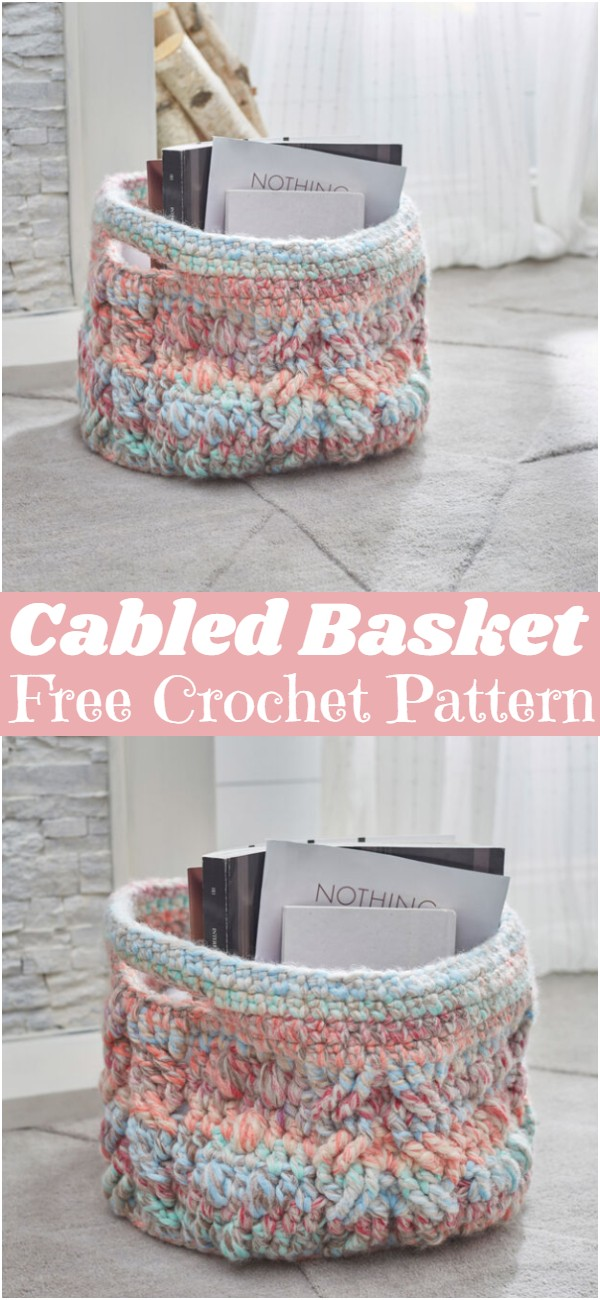 Crochet Cabled Basket