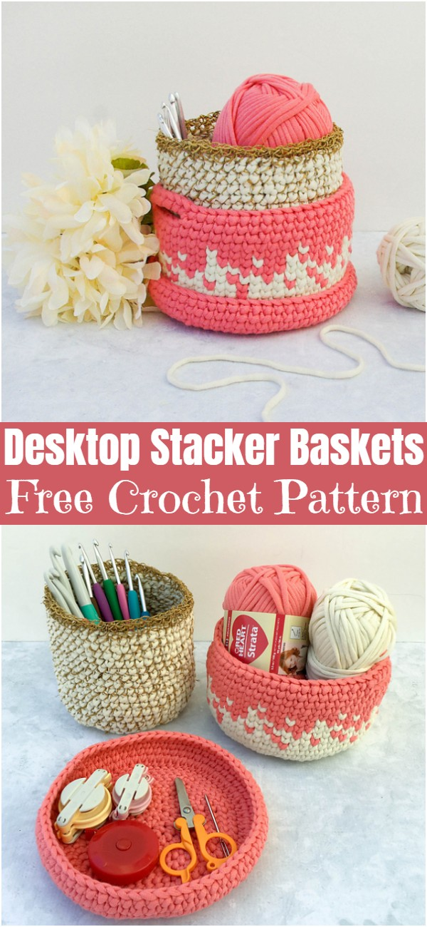 Crochet Desktop Stacker Baskets
