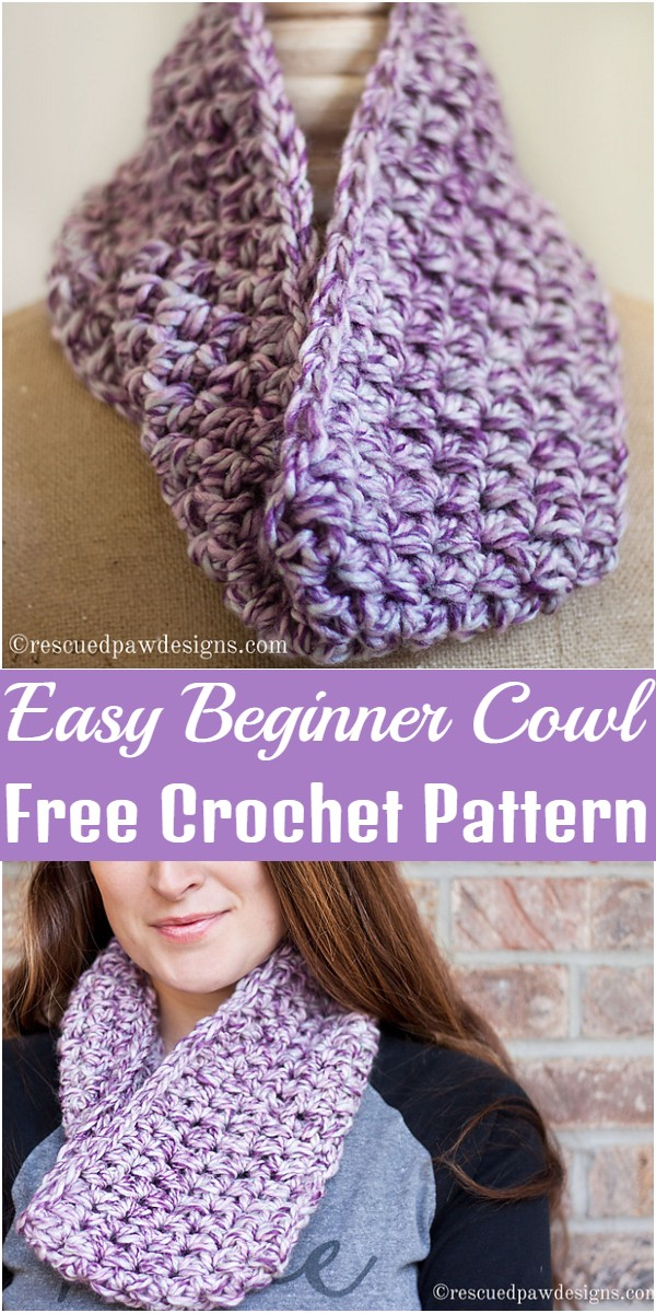 Crochet Easy Beginner Cowl Pattern