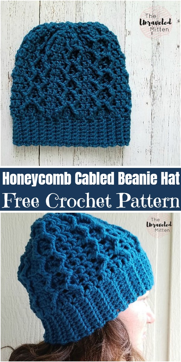 Crochet Honeycomb Cabled Beanie Hat Pattern