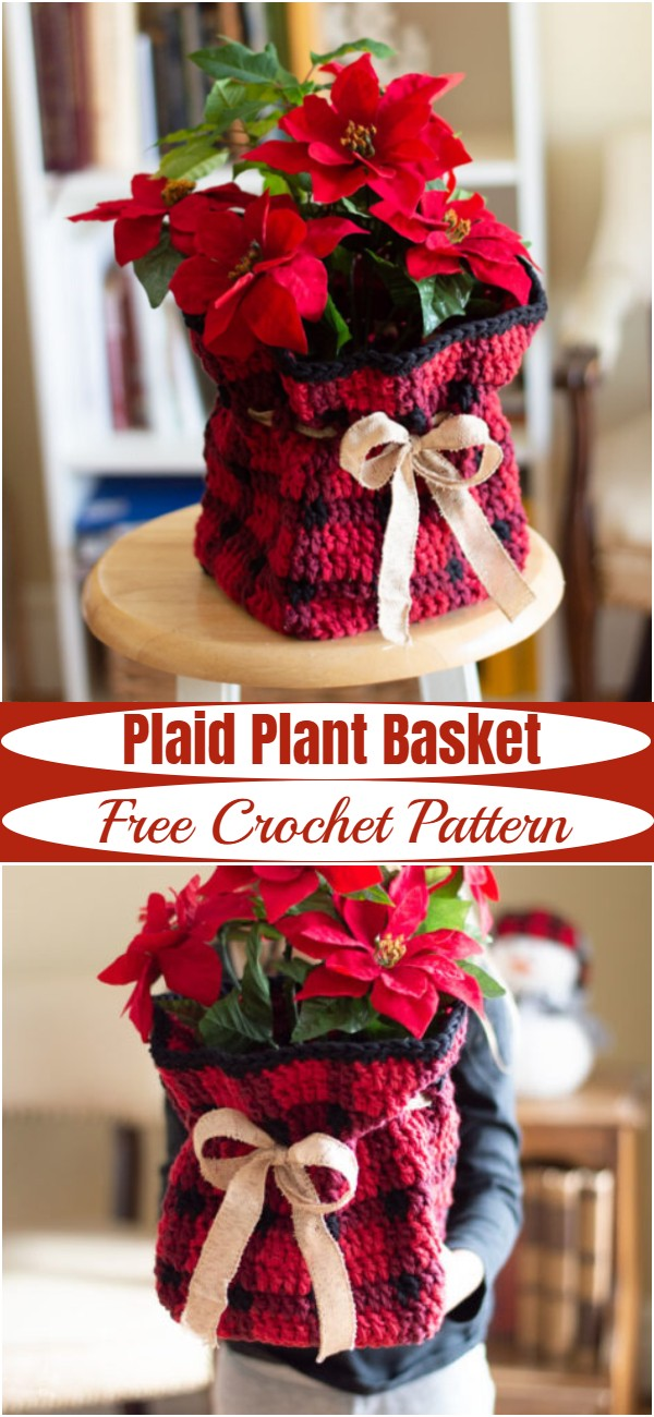 Crochet Plaid Plant Basket Pattern