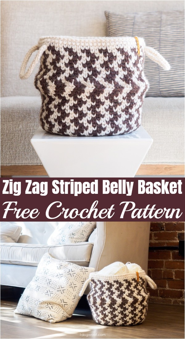 Crochet Zig Zag Striped Belly Basket Pattern