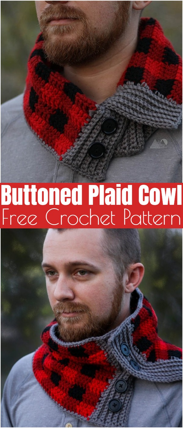 Free Crochet Buttoned Plaid Cowl Pattern
