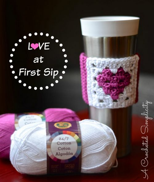 Free Crochet Love At First Sip Coffee Sleeve Pattern