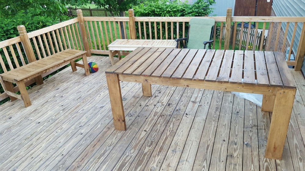 Deck Table With Benches