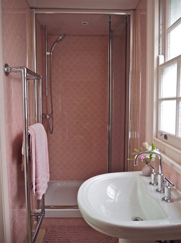 DIY Scalloped Pink Shower Wall